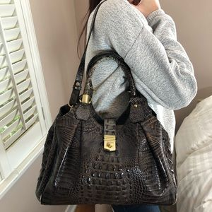Authentic Brahmin Mocha Leather Croc LARGE Bag